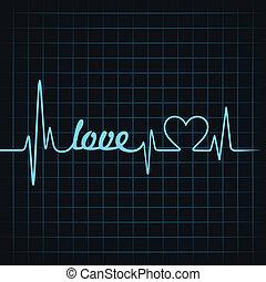 coeur, pulsation, amour, texte, faire