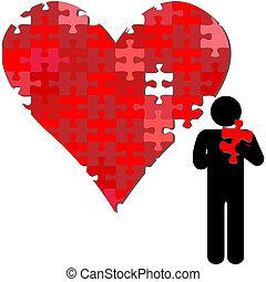 coeur, puzzle, bras, valentin, personne, morceau