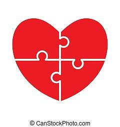 coeur, puzzle.