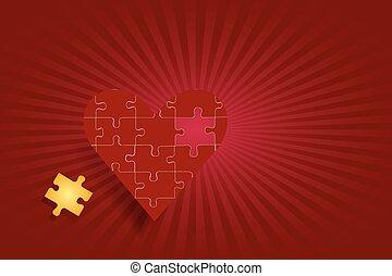 coeur, puzzle, concept, amour, rouges