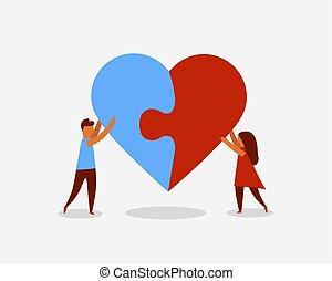 coeur, puzzle., gens