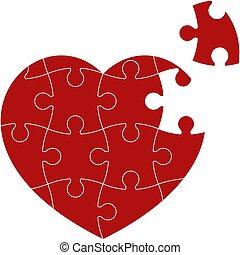 coeur, puzzle, rouges
