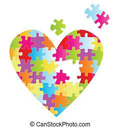coeur, puzzle, vecteur, fond