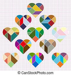 coeur, puzzle, vecteur
