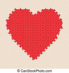 coeur, puzzle, vecteur, pattern.