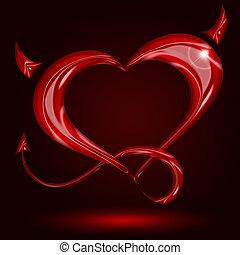 coeur, queue, arrière-plan noir, cornes, rouges