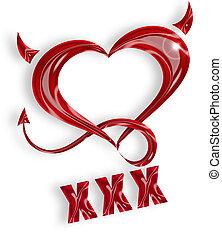 coeur, queue, rouges, illustration, cornes