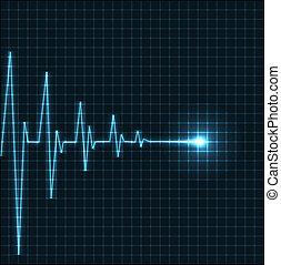 coeur, résumé, battements, cardiogramme