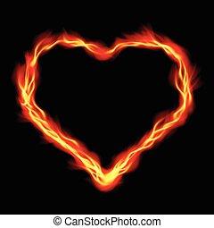coeur, résumé, brûler, fond