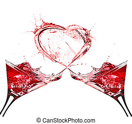 coeur, résumé, deux, éclaboussure, vin, rouges, lunettes