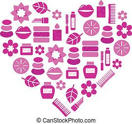 coeur, résumé, isolé, cosmétique, accessoires, rose, blanc
