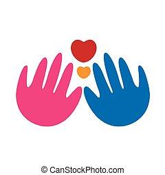 coeur, résumé, mains, logo