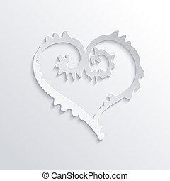 coeur, résumé, vecteur, blanc