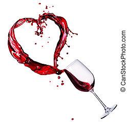 coeur, résumé, verre, éclaboussure, vin rouge