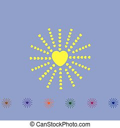coeur, rayons, aimer, soleil