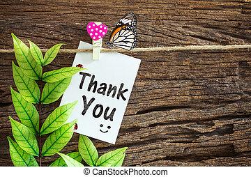 coeur, remercier, bois, noter papier, fond, pendre, vous, clips, rouges