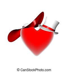 coeur, render, rouges, 3d