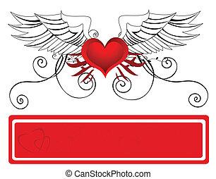 coeur, retro, fond