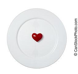 coeur, romance, amour, plaque, plat, forme