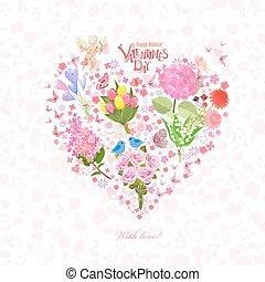 coeur, romantique, cupidon, conception, floral, ton
