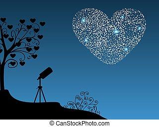 coeur, romantique, fond, télescope