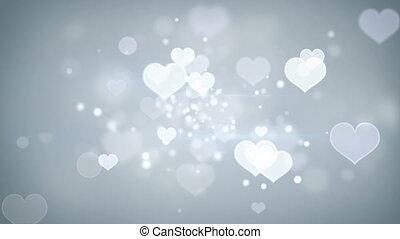 coeur, romantique, loopable, formes, bokeh, fond