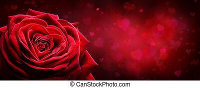 coeur, romantique, rose, -, valentin, forme, arrière-plan rouge, carte