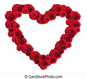 coeur, romantique, roses, fond, blanc rouge