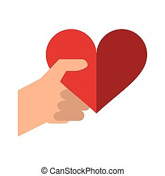 coeur, romantique, valentines, main, jour, rouges