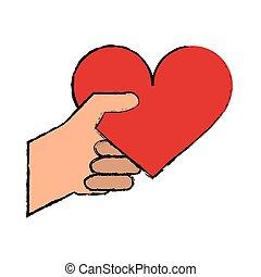 coeur, romantique, valentines, main, rouges, dessin animé, jour