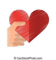 coeur, romantique, valentines, main, rouges, dessin, jour