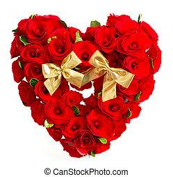 coeur, roses, arc, rouges, doré