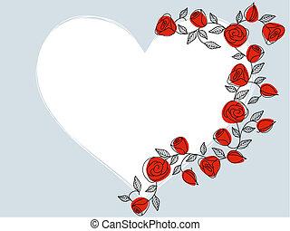 coeur, roses, main, dessiné, classique