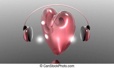 coeur, rotation, casque