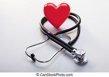 coeur rouge, à, stéthoscope