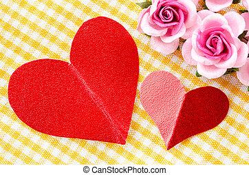 coeur rouge, étiquette, papier, et, rose rose, flower.