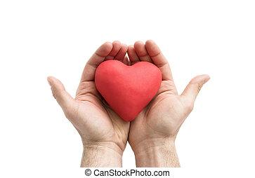 coeur rouge, dans, homme, hands., assurance maladie, ou, amour, concept