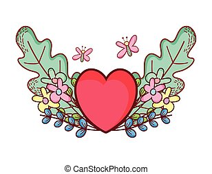 coeur rouge, fleurs, papillons, dessin animé, amour