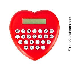 coeur rouge, formé, calculator.