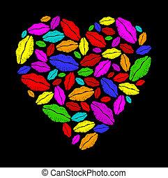 coeur, rouge lèvres, coloré