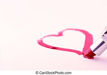 coeur, rouge lèvres, dessiné