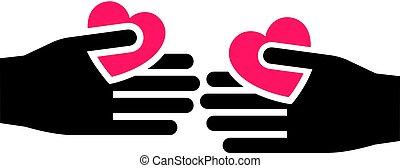 coeur, rouge noir, main, 25
