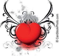 coeur, rouge noir, modèle