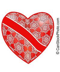 coeur rouge, openwork, ruban