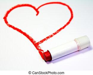 coeur rouge, peint, par, rouge lèvres