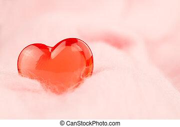 coeur rouge, sur, a, rose, arrière-plan., valentine's, jour