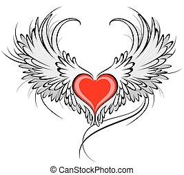 coeur, rouges, ange