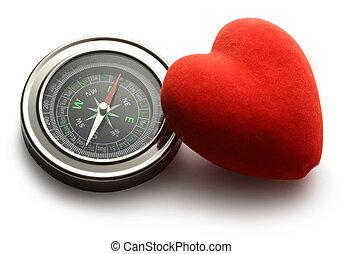coeur, rouges, compas