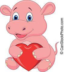 coeur, rouges, dessin animé, tenue, hippopotame