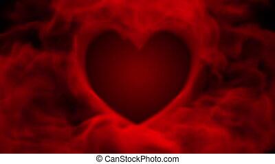 coeur, rouges, fumée